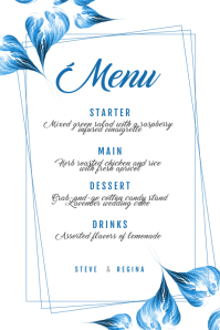 Blue Wedding menu Template