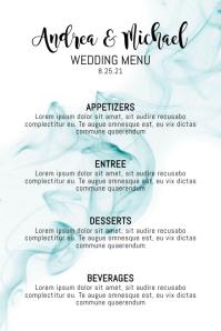 Blue Wedding Menu Template Poster