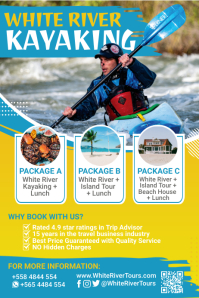 Blue White Water Adventure Kayaking Poster Template Cartaz