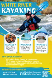 Blue White Water Adventure Kayaking Poster Template Cartaz
