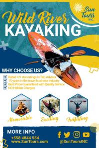 Blue Wild River Kayaking Poster Template Cartaz