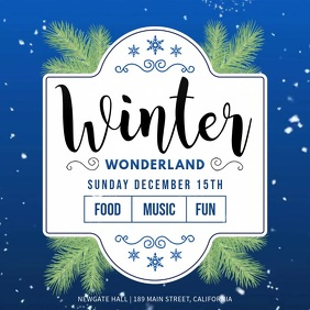 Blue Winter Wonderland Event Square Video Isikwele (1:1) template