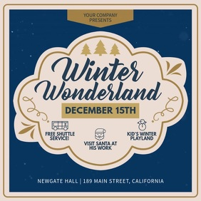 Blue Winter Wonderland Invitation Square Vide