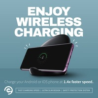 Blue Wireless Charger Ad Instagram Image template