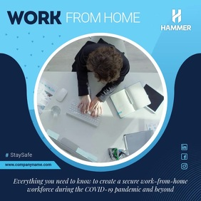 Blue Work from Home Square Video