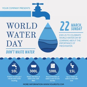 Blue World Water Day Awareness Campaign Squar