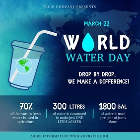 Blue World Water Day Awareness Square Video