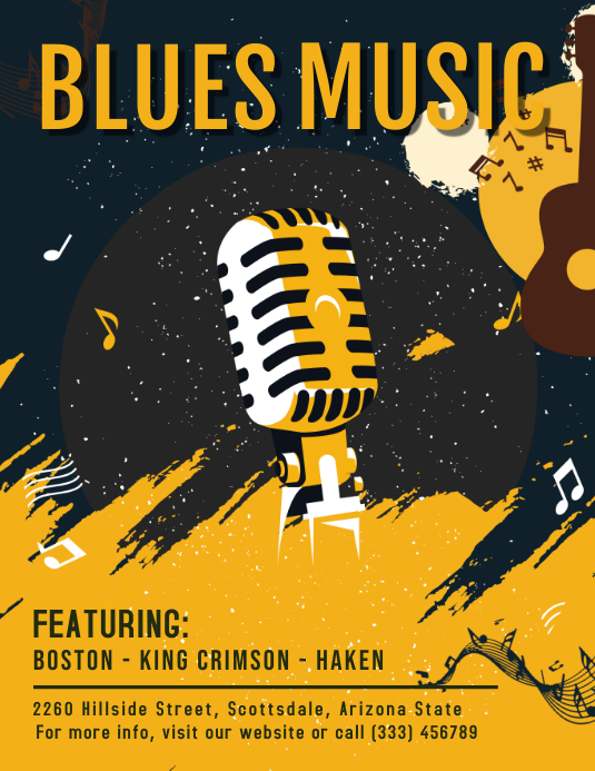 Blues Concert Band Line-up Flyer 传单(美国信函) template