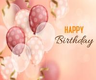 Blurred Realistic Happy Birthday Background Persegi Panjang Sedang template