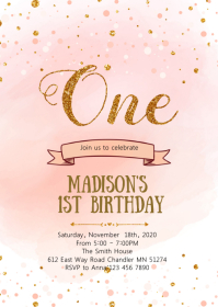 Blush Confetti first birthday invitation