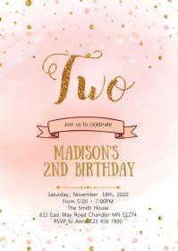 Blush Confetti second birthday invitation A6 template