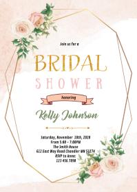 Blush Flower frame theme invitation A6 template