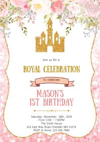 Blush flower glitter castle princess party A6 template