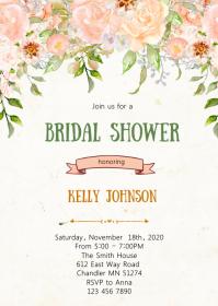 Blush flower shower invitation