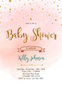 Blush gold confetti shower invitation