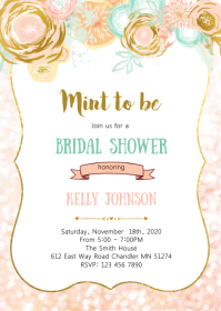 Blush Mint and gold party theme invitation