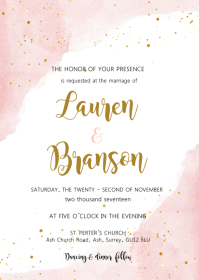 Blush watercolor theme invitation A6 template