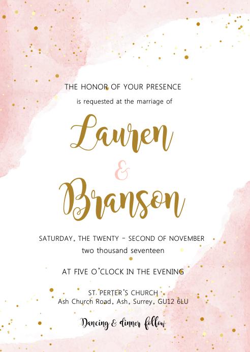 Blush watercolor theme invitation A6 template