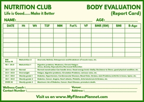 Body Evaluation Report Card Template Postcard