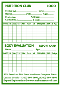 Body Evaluation Report Card Template A4