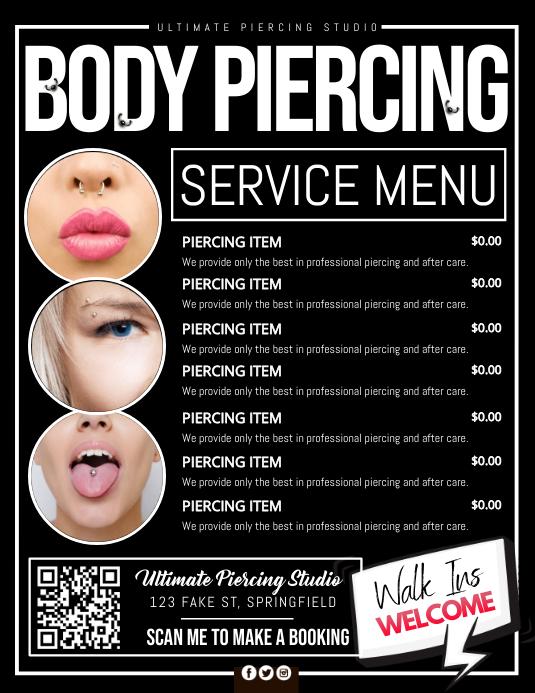 Body Piercing Service Menu Poster Folder (US Letter) template