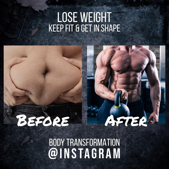 Body Transformation Before After Instagram template