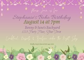 Boho Floral Birthday Invitation Postal template