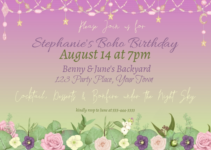 Boho Floral Birthday Invitation Kartu Pos template