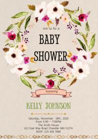 Boho flower wreath shower invitation