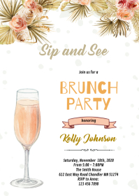 Boho see sip and brunch party A6 template