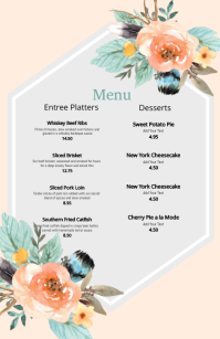 Boho Wedding Menu