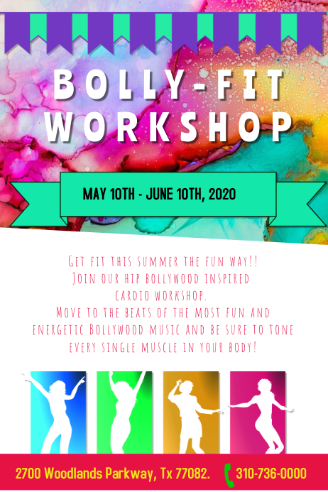 Bollywood fitness workshop template postermywall bollywood fitness workshop stopboris Image collections