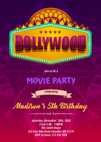 Bollywood party birthday Invitation A6 template