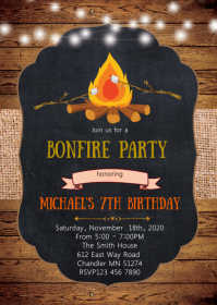 Bonfire birthday party invitation A6 template