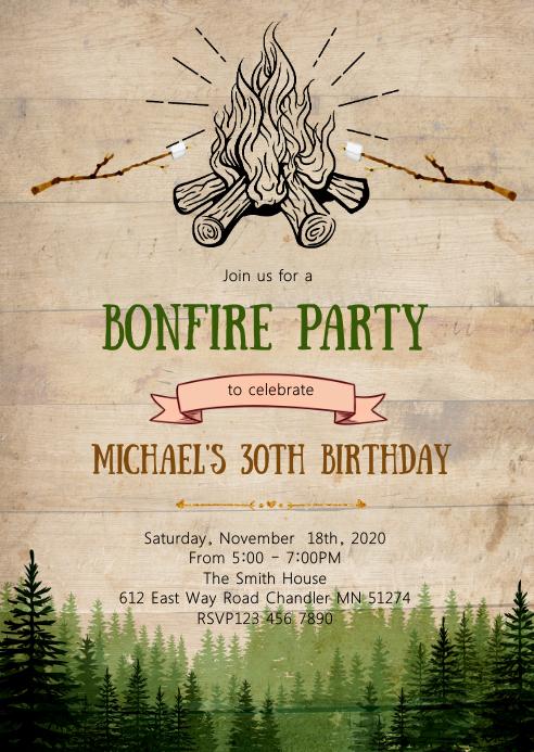 Bonfire birthday party invitation A6 template