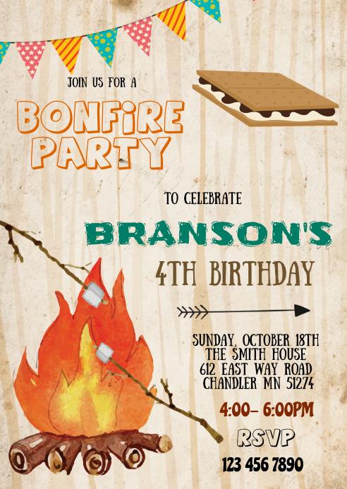 Bonfire s'more birthday party invitation