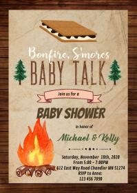 Bonfire smore baby talk party invitation A6 template