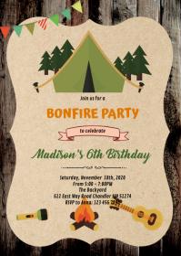 Bonfire smore camp bonfire invitation A6 template