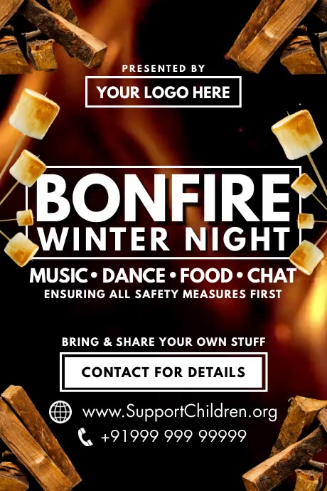 Bonfire Winter Night Poster Template