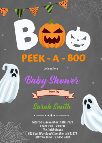 Boo Halloween ghost birthday Invitation A6 template