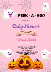 Boo Halloween ghost birthday Invitation A6 template