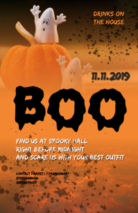 BOO Halloween party flyer Tabloid template
