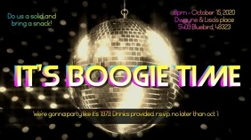 Boogie Down Disco Party Invitation with Music Digital Display (16:9) template