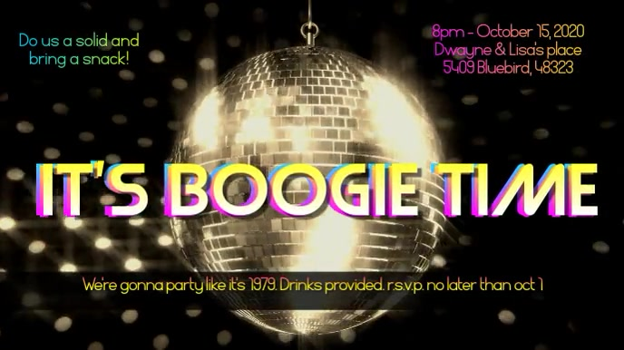 Boogie Down Disco Party Invitation with Music Digitalt display (16:9) template