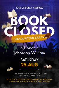 Book closed virtual graduation party banner template