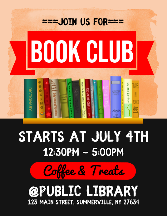 book club flyer template postermywall