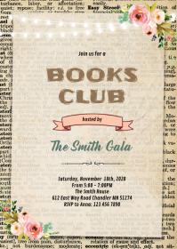 Book club party invitation A6 template