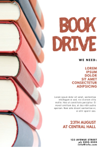 Book Donation Drive Flyer Template