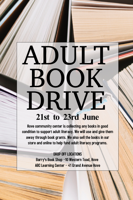 book drive flyer template postermywall
