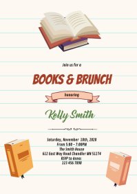 Book library baby bridal shower invitation A6 template